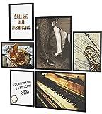 Papierschmiede® Mood-Poster Set Jazz | Cuadros como decoración de Paredes | Living y Dormitorio | 2X A4 y 4X A5 | Música Piano Trompeta marrón Vintage - sin Marco