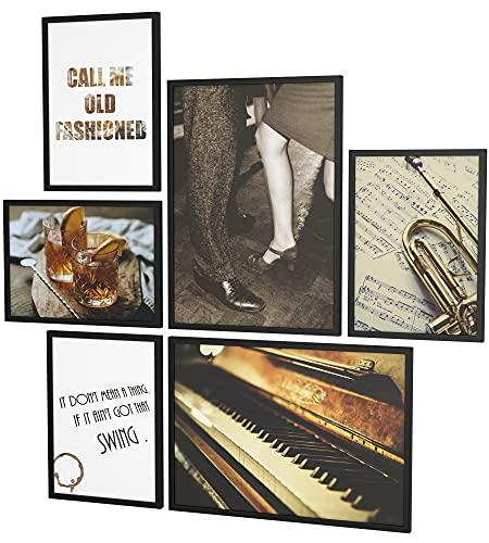 Papierschmiede® Mood-Poster Set Jazz | Bilder als Wanddeko | Wohnzimmer & Schlafzimmer | 2X DIN A4 und 4X DIN A5 | Musik Klavier Trompete Braun Vintage - ohne Rahmen