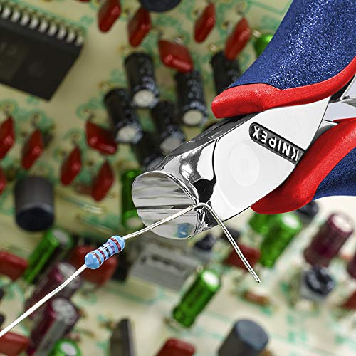 KNIPEX Tools - Electronics End Cutting Nippers, Multi-Component (6432120)