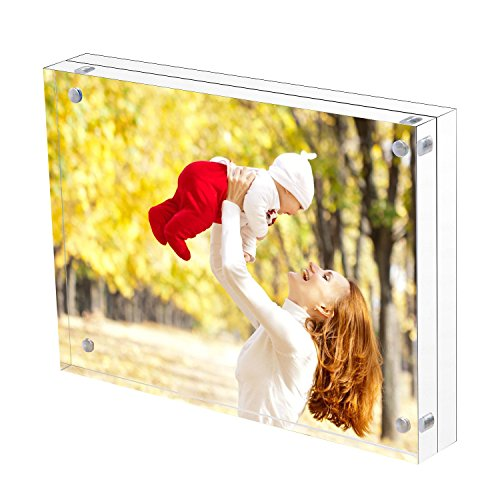 Sooyee 6X8 Acrylic Frame, Clear,Magnetic Photo Frame, Double Sided Frameless Standing in Desktop Picture Display(10 + 10MM Thickness)