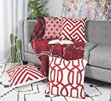 Daydreaming Home Square Printed Cotton Linen Cushion Cover,Throw Pillow Case, Decorative Pillow Set Cushion Cases for Home Sofa Couch Chair Back Seat,4pc Pack 18x18 in Red Color