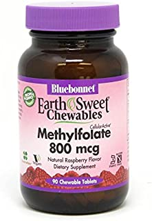 Bluebonnet Earth Sweet Cellular Active Methylfolate 800 mcg Chewable Tablets, 90 Count