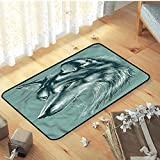 N/A Felpudos Entrada Casa Small Mat, Natural Fashions Style Decorative Floor Mat Very Soft Indoor Modern Area Rugs, Exotic Wild Animal Wolf Picture- Falfombra De Puerta Entrada Antideslizante,