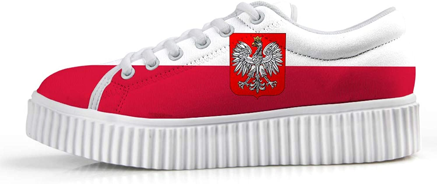 Owaheson Platform Lace up Sneaker Casual Chunky Walking shoes Low Top Women Polish Flag National Emblem