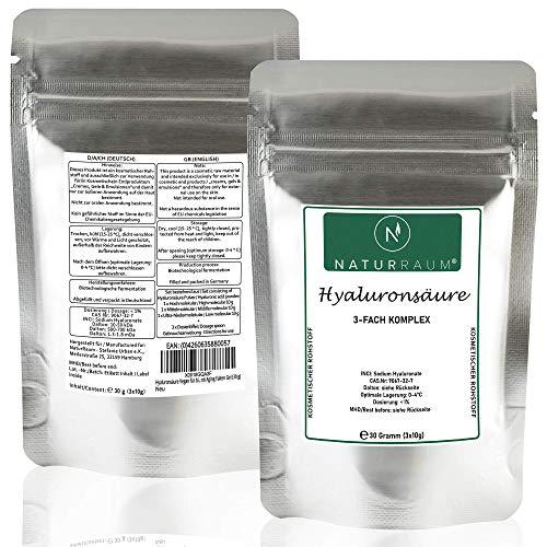 Hyaluronsäure Vegan für bis zu 3000 ml Hyaluron Serum - Hochdosiert - 30 Gramm Pulver – Naturkosmetik – Tages- und Nachtpflege - Anti Aging Falten Gel (30 g)