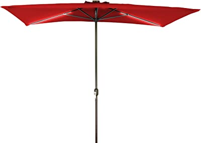 4' x 8' Solar Powered LED Strip Lighted Half Patio Umbrella by Home & Comfort (Red)