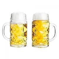 2 chopes de bière de 0,5 l avec motif de bouclier et ligne de remplissage - 500ml - Avec poignée - Parfaites pour les fêtes. Emplacement pour gravure ou écusson du club: 65 x 80 mm - Avec de grandes bulles dans le verre. Verre transparent brillant d...