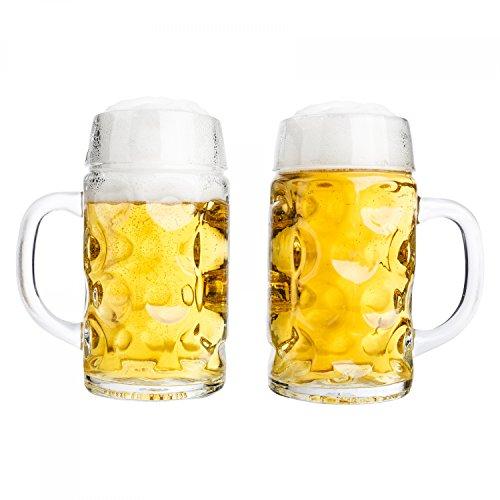 Van Well 2er Set Maßkrug 0,5L geeicht | Halber Liter Bierkrug mit Henkel | Bierglas spülmaschinenfest perfekt geeignet für Gastronomie