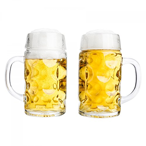 Van Well Set da 2 boccali per birra da 0,5 l, con tacchetta, boccale grande con manico, resistente al lavaggio in lavastoviglie, perfetto per la gastronomia