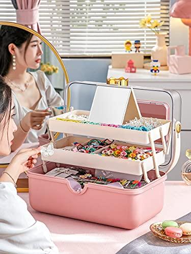 YSJJBTS Caja médica Caja de Almacenamiento de Joyas niña niña Diadema elástica Cabina de joyería de joyería de bebé con Caja de Almacenamiento de Espejo (Color : Yellow)