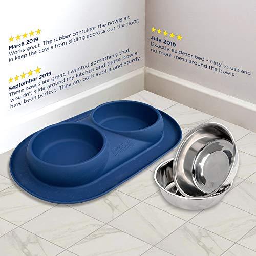 Bonza Doppel Hundenapf Hundefutterstation, Edelstahl-Wasser-und Futternäpfe mit Spill und rutschfeste Silikon-Basis. Premium Quality Feeder Lösung für kleine Hunde und Katzen (Marineblau) - 6