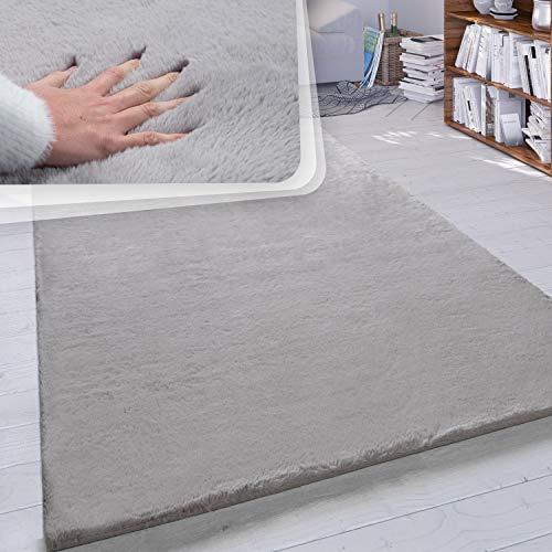 Paco Home Hochflor Teppich Wohnzimmer Kunstfell Super Soft Einfarbig in Versch. Größen und Farben, Grösse:120x160 cm, Farbe:Grau