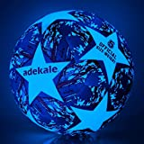 Laxnako Football Size 5 Light Up Football Glow in the Dark Soccer Ball Training Football Professional Club Team Indoor & Outdoor Match Soccer Ball