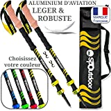 spoutdoor bastoncini trekking telescopici leggeri, bastoni in allu 7075 per nordic walking, escursionismo, passeggiate, (giallo)