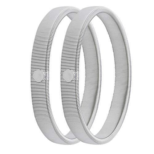 1 Pairs Anti-slip Metal Shirt Sleeve Holders Stretchy Garter Elastic Armbands - Silver