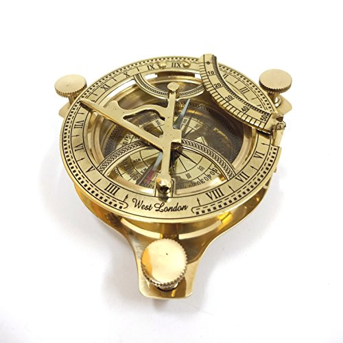 "INDIA OVERSEAS TRADING CORP 4.5"" Brass Sundial Compass"