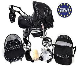 Sportive X2 - Sistema de viaje 3 en 1, silla de paseo, carrito con capazo y silla de coche, RUEDAS GIRATORIAS y accesorios (Sistema de viaje 3 en 1, negro, lunares)