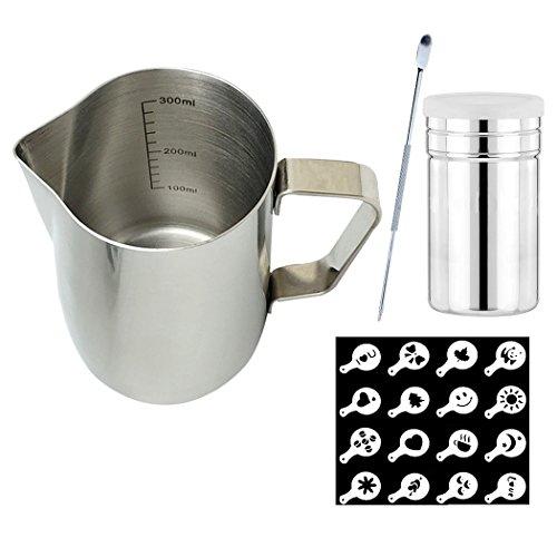 SIPLIV Coffee Art Kit 12 oz (350 ml) brocche per Espresso in Acciaio Inox brocche per Latte lattiera con marcature di Misura, caffettiera, scuotitrice per Cacao in Polvere, 16 Stencil per caffè