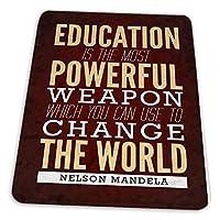 マウスパッド ゲーミングマウスパッド-ネルソンマンデラ教育は最も強力な武器の名言です滑り止め デスクマット 水洗い 25x30cm