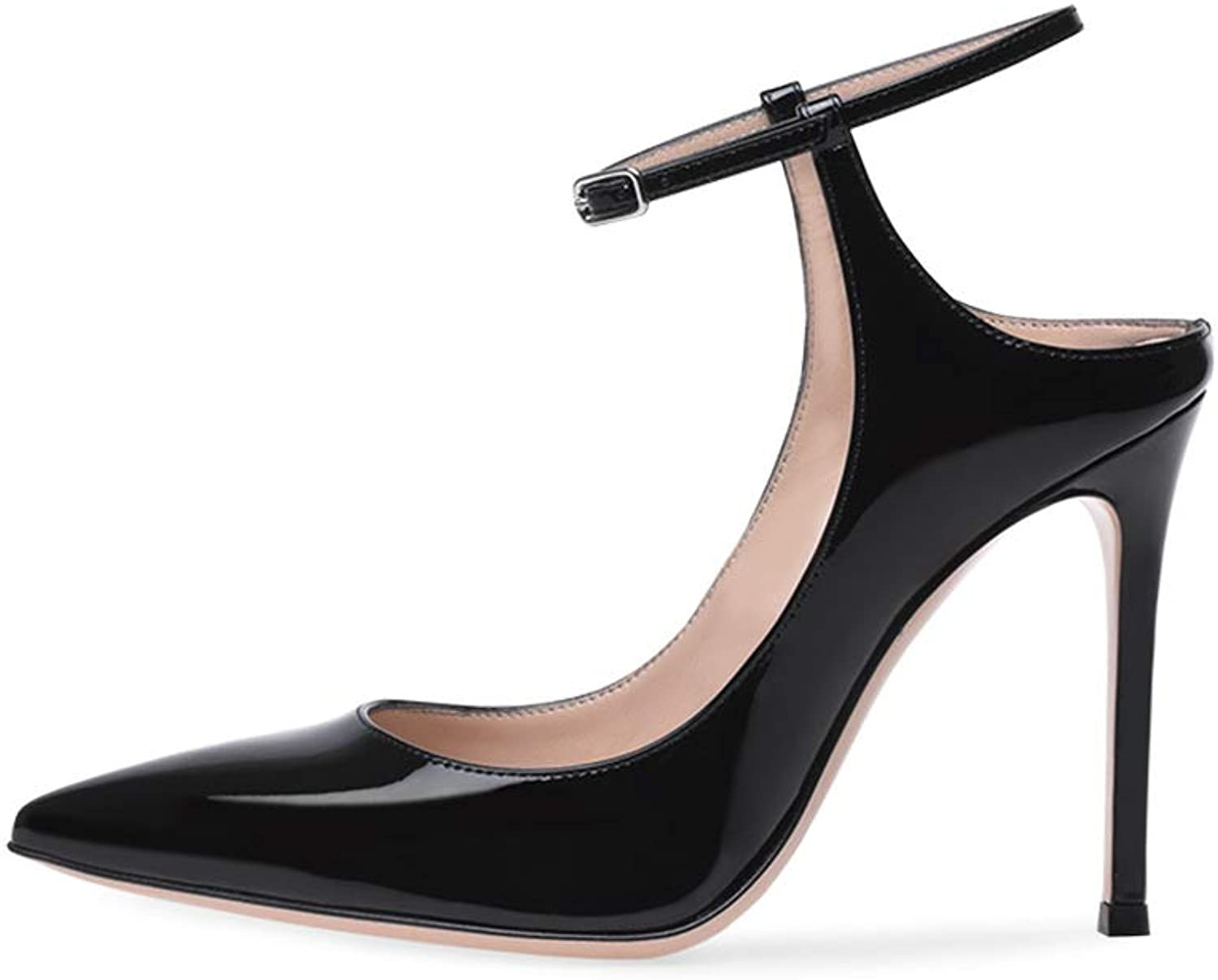 Ladies High Heel Court shoes Black Pumps for Women Ankle Straps Buckle Formal Evening Wedding Party