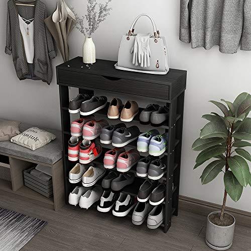 soges Schuhregal Schuhschrank Holz 5 Etagen,75 * 30 * 94CM Schuhablage Schuhständer Schuhregal für Wohnzimmer, Diele, Flur, Schwarz L24-BK