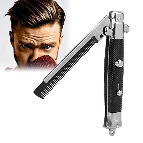 Switchblade Spring Folding Push Button Tasche Kamm, Klappkamm, Faltbare Automatische Edelstahl Haarschneider Kämme, Männer Öl Hair Styling Zubehör(Schwarz)