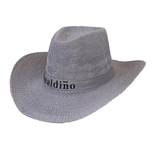 ZYQ Gorra Outback Moldeable Ajustable para Hombre Gorra De Paja De Playa De ala Grande para Exteriores De Verano 4 Colores (Color : A, Size : M 58-60 cm)