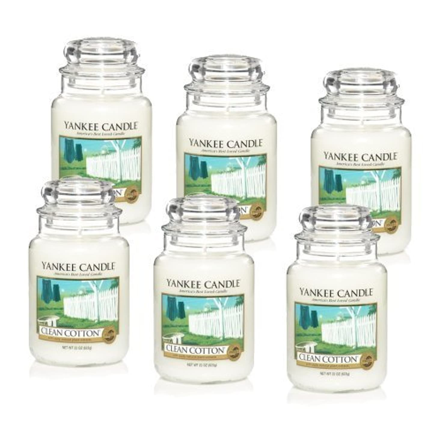 とんでもない欠如速度Yankee Candle Company Clean Cotton 22-Ounce Jar Candle, Large, Set of 6 by Amazon source [並行輸入品]