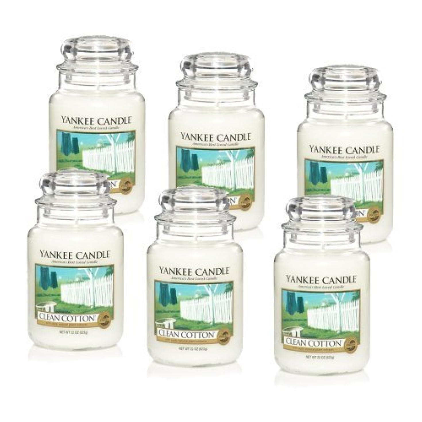 ハウジング起点誘惑Yankee Candle Company Clean Cotton 22-Ounce Jar Candle, Large, Set of 6 by Amazon source [並行輸入品]