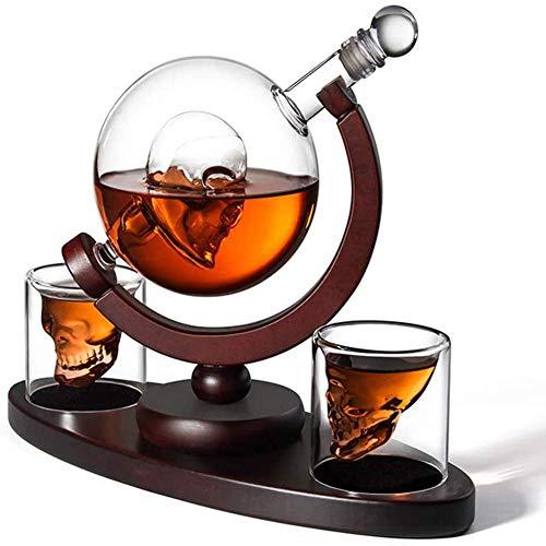 ZYLZL Barware Skull Wine Container 850Ml, Contenedor de vino Skull Cup Globe Skull Bones Glass Botella de vino Vodka Glass Craft Wine Bottle,Transparente,850ML