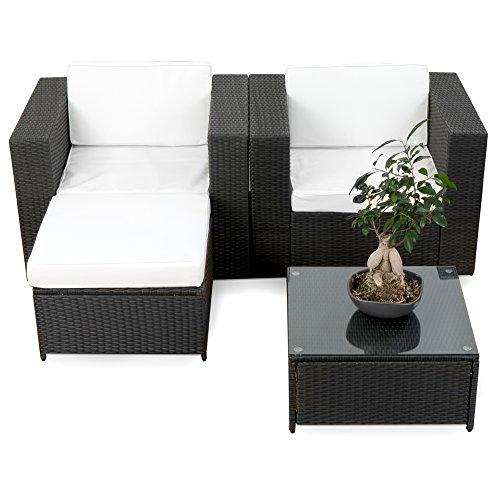 XXL Balkon Lounge Set für Balkon und Terrase erweiterbar - Polyrattan Balkon Lounge Set - schwarz – Gartenmöbel Lounge Möbel Set Garnitur - Gartenlounge Set + Lounge Sessel + Hocker + Tisch + Kissen - 2