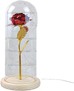 Uonlytech Enchanted Rose Lamp Beauty and The Beast Rose in Glass Dome with Wooden Base for Wedding Anniversary Valentine's...