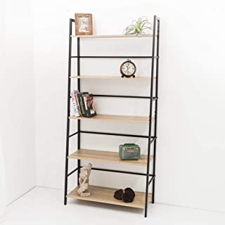 C-Hopetree Ladder Bookcase Bookshelf Storage Shelf Vintage Industrial Plant Display Stand Rack Shelving, Home Office Accent Furniture, Black Metal Frame, 5 Tier Wide