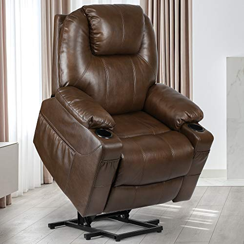 YITAHOME Power Lift Recliner Chair for Elderly, Lift Chair with Heat and Massage, Faux Leather Recliner Chair with 2 Cup Holders, Side Pockets & Remote Control for Living Room (Brown)