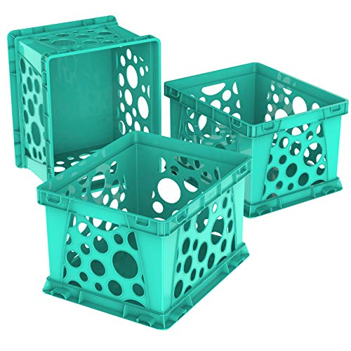 Storex Mini Crate, 9 x 7.75 x 6 Inches, School Teal, Case of 3 (61634U03C)