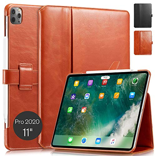 KAVAJ Case Leather Cover London works with Apple iPad Pro 11' 2020 Cognac-Brown Genuine Cowhide Leather with Pencil Holder Supports Apple Pencil Slim Fit Smart Folio