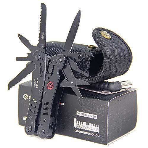 Ganzo G302-B G302B Kit d'outils de camping en plein air en Tungalloy avec serrure interchangeable avec étui en nylon et boîte cadeau (G302-B)