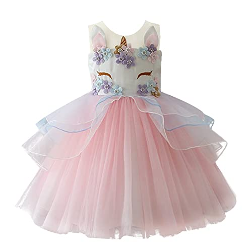 ce745430b1dcf IWEMEK Kids Toddler Girls Princess Dress Unicorn Cosplay Sleeveless Tulle  Tutu Dress Wedding Birthday Halloween Christmas