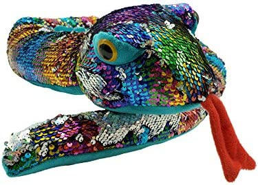 Rainbow Flip Sequin Stuffed Snake Reversible Sequin Pet Snake Stuffed Animal Giant 60 inches product image