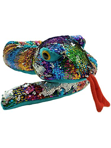 LMC Products Rainbow Flip Sequin Stuffed Snake - Reversible Sequin Pet Snake Stuffed Animal - Giant 60 inches Long