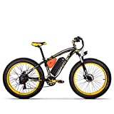 GUOWEI Rich BIT RT-022 48V 17AH 1000W Fat Tire Snow Bicycle Motor Brushless Beach Mountain Ebike (Black-Yellow)