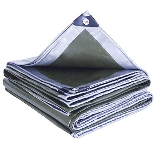 tarpaulin waterproof heavy duty Thicken Sunscreen Outdoor Plastic Sunshade Awning Cloth Wear-resistant Anti-aging PE Material, 15 Sizes (Color : Silver, Size : 7.9X9.9M)