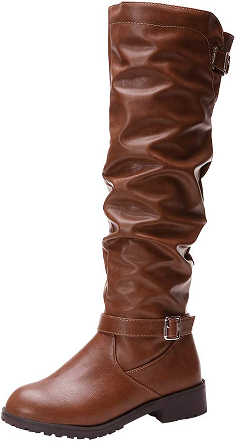 JESPER Women Faux Leather Slouchy Boots Ruffle Zipper Buckle Strap Round Toe Knee-High Boots