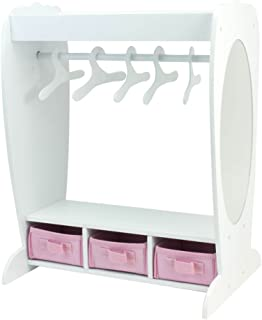 Sophia's 18 Inch Doll Clothes Furniture Dress Up Rack with Mirror & Storage Fits American Girl Doll Bedrooms and More! 18 Inch Doll Mirrored Clothing Rack with Hangers, 18 Inch Doll House Furniture