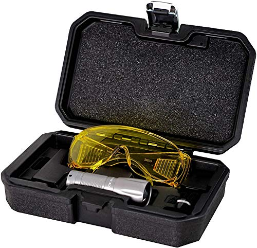 AiCooler LED True Ultraviolet Leak Detection Flashlight with Yellow Protective Goggles. UV Dye Leak Detector for auto A/C and HVAC, Taiwan Made (UV wavelength 395 nm)