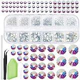 GORGECRAFT 2141 Stück Kristall-Strasssteine AB mit Pinzette, Tablett-Teller, Einwegbesteck Löffel und Punktierstift für Nagelkunst-Zubehör