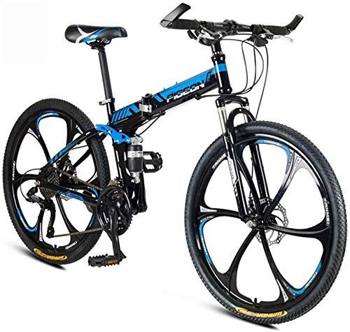 HCMNME Durable Bicycle, Folding Mountain Bike 26 Inch Adult Variable Speed Bicycle Lightweight Portable Student Country Bike, Double Disc Brake Bicycle, Adjustable Seat Bikes (Color : Blue, 速度 s