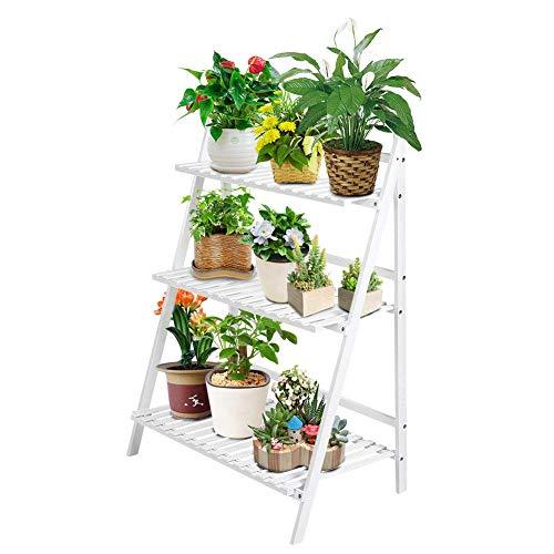N /A Support de pot de fleurs en bois 3 étages pliable 3 étages pour pot de fleurs en bambou pour intérieur et extérieur, balcon 70 x 40 x 96 cm, blanc