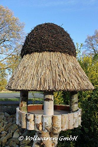 REETDACH VOGELVILLA MASUREN 4 BIRKE 180x57x57 Vogelhaus Futterhaus mit Ständer - 4