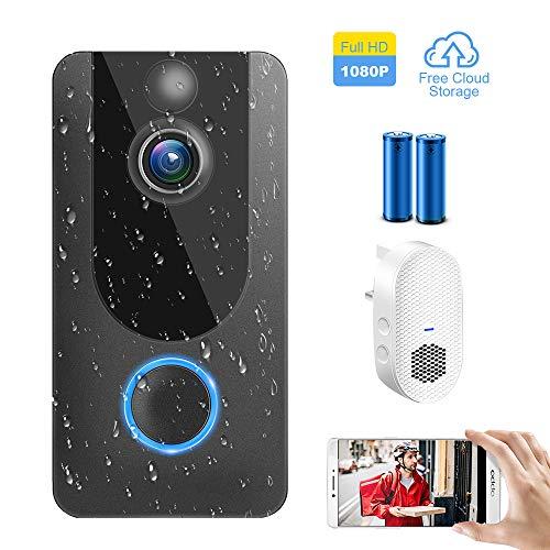 1080P Video Türklingel mit Kamera, Drahtlose WiFi Video Doorbell Smart Batterieüberwachungskamera Zwei-Wege-Audio,wasserdichte (kostenloser Cloud Service )